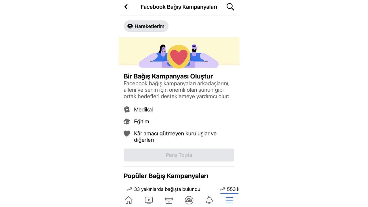 facebook mobil, bağış kampanyası