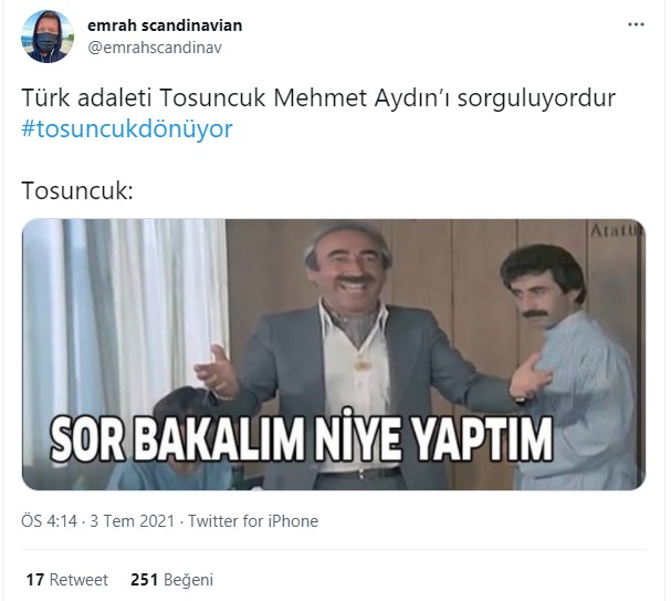 Reactions from Twitter to the Return of 'Tosuncuk': 9