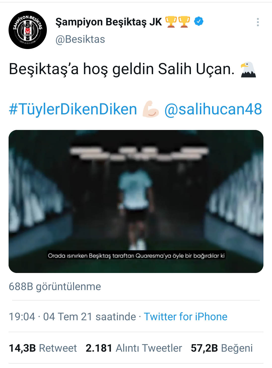 Beşiktaş was able to share its announcement at 19:03 at 19:04 2