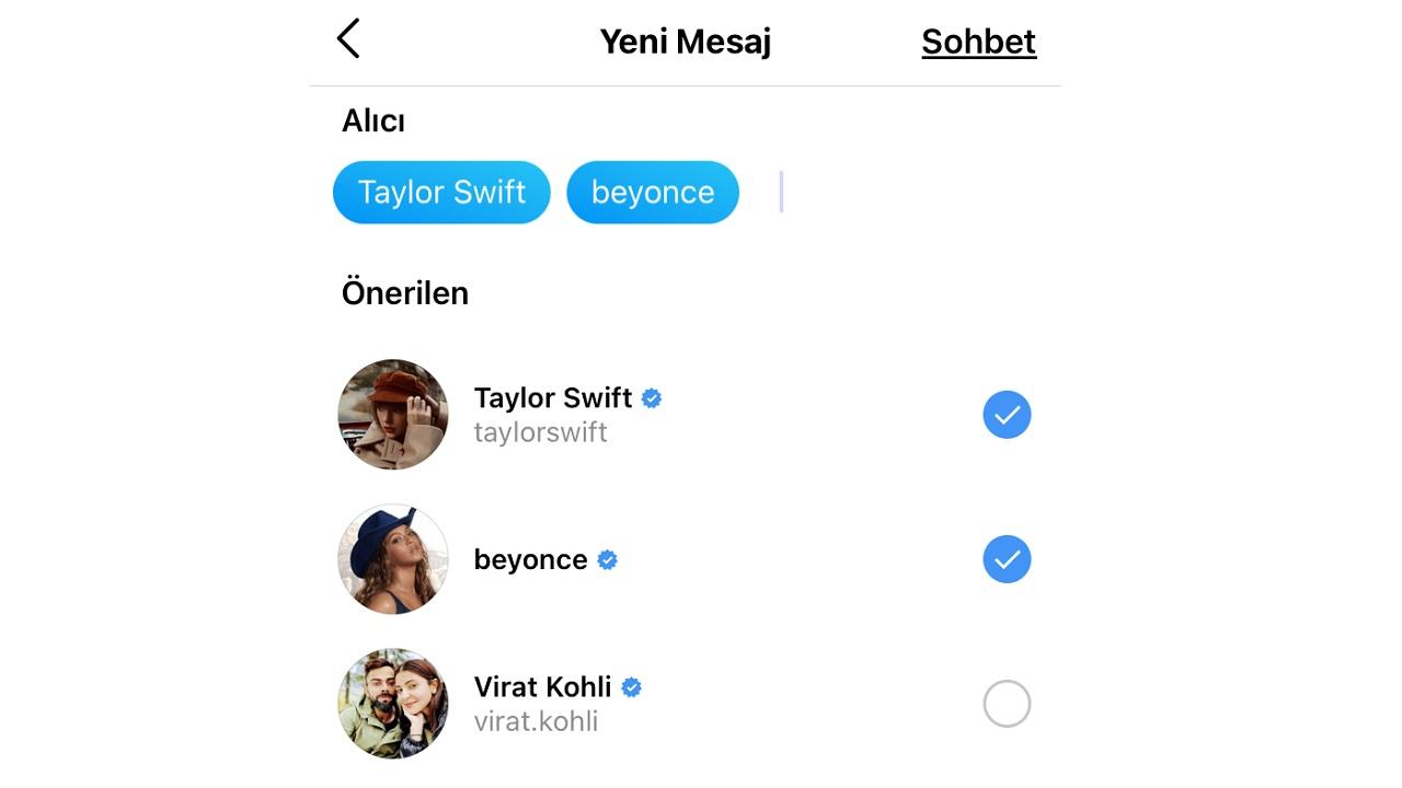 instagram grup sohbeti