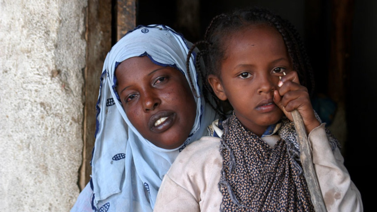 African woman and her daughter