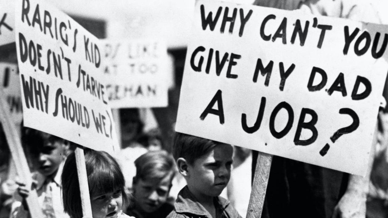 Büyük buhran'ı protesto eden çocuklar