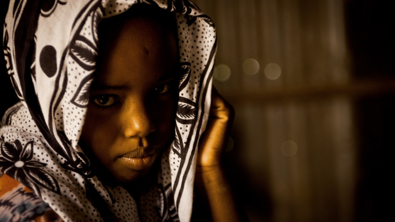 frightened african girl