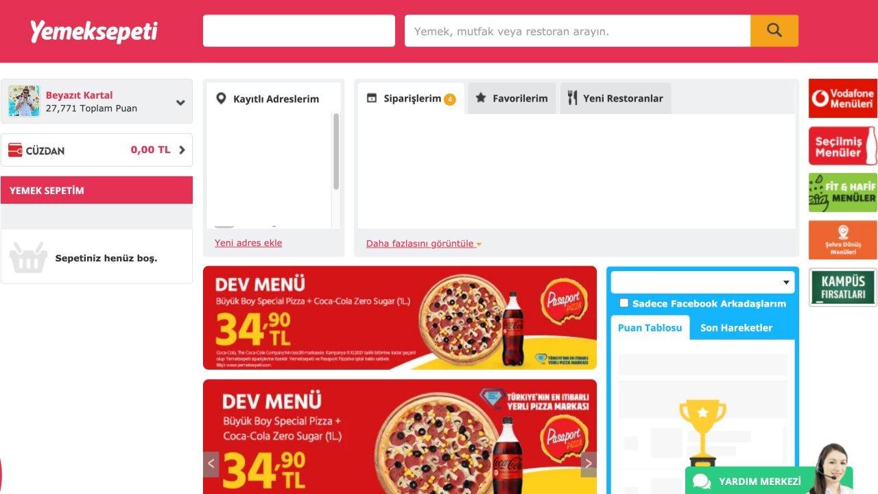 yemeksepeti site yeni tasarım